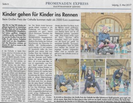Einnahmen des Kids Car Race zum Großen Preis der Osthalle Hbf. Leipzig erhält Zukunft für Kinder e.V.